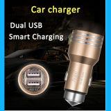 Carregador dobro de alumínio do carro do telefone móvel do USB do metal 5V 2.4A do projeto novo