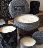 Vela perfumada de la Navidad de la venta caliente hecha a mano en la lata redonda