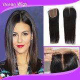Человеческих волос девственницы штока закрытия шнурка части оптовой продажи 3.5X4 закрытия шнурка волос Quercy части закрытия средних дешевых прямых бразильских Silk низкопробные