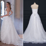 Pleated Strapless Lace Organza Wedding Dresses (TM-AL005)