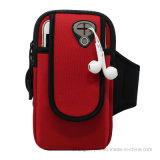 Neopreno rojo que ejecuta el bolso móvil del brazo con la insignia de Customed