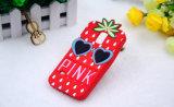 Caixa macia do telefone do silicone do abacaxi dos desenhos animados com vidros do amor para Huawei P8 P9lite (XSP-001)