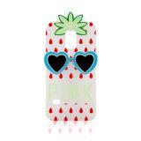 Caja púrpura roja blanca rosada del teléfono móvil del silicón de la piña con los vidrios del amor (XSP-001)