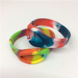 Popular braceletes da faixa do silicone da cor camuflar de borracha