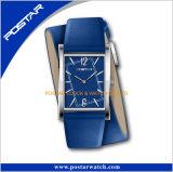 Swatchful 색깔 Squar 모양 두 배 감싸인 가죽끈 시계