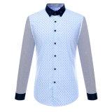 Los hombres Delgado-Ajustaron la camisa de alineada impresa ropa del algodón de la manera