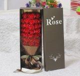 Fleur faite sur commande de luxe de carton de fleur de Rose de festival de vente chaude/cadre de papier de cadeau avec le couvercle