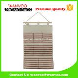 Organizador cómodo del almacenaje de la pared de colgante de Eco del yute de la lona de la raya