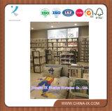 Стеллаж для выставки товаров полки супермаркета с древесиной и металлом