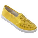 Яркие желтые ботинки впрыски холстины с картиной Rhinstone для женщин