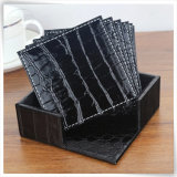 一義的なDecorationのためのS/4 PU Leather Crocodile Beer Cup Tea Coaster