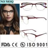 Último diseñador Oval medio-borde gafas Marcos personalizados de metal óptico