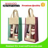 Kundenspezifische Jutefaser-Beutel-Großverkauf-faltbare Jutefasertote-Einkaufstasche mit Belüftung-Fenster für Wein