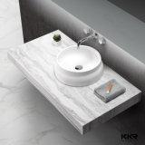 Europäischer Zylinder-weiße Steinuntersatz-Badezimmer-Wanne