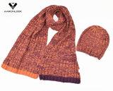 la costilla del invierno 2PC hizo punto la gorrita tejida determinada de la bufanda