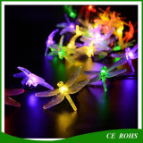 Weihnachtsbaum-dekoratives Libelle-Zeichenkette-Licht-bunte Solarzeichenkette-Lampe 20LED/30LED für Festival