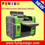 Qualité A3 Multi-Function Flatbed UV Printer pour T-Shirt, CD, Card, Pen, Golf Ball, Phone Cas, USB, Glass, Plastics, Acrylic, PVC, Leather, Marble, etc.