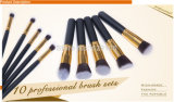 10PCS Beauty Equipment Makeup Brush Set Made de Synthetic Hair, Metal, Wood