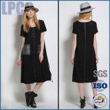 2016 schwarzes beiläufiges bequemes Form-Dame-Kleid