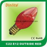 C22-多彩な蝋燭の白熱球根の外のE12