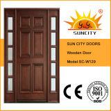 Роскошная нутряная дверь твердой древесины с стеклянной конструкцией (SC-W129)