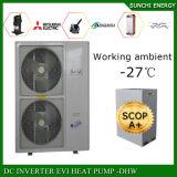 Amb. Temp do ar de -25c. Calefator de água frio da bomba de calor da água quente 12kw/19kw/35kw R407c Evi da casa +50c do aquecimento de assoalho do inverno para o calor Home