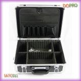 Caja de herramienta de aluminio del peluquero del estilo del color caliente del negro (SATC011)