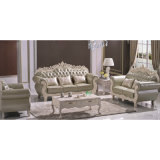 Les meubles de salle de séjour ont placé avec le sofa en cuir en bois (929P)