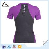 カスタム女性の最上質の圧縮の連続したTシャツの実行の摩耗