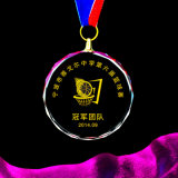 Médailles en verre faites sur commande avec la bande, médailles de sport et Trophys avec la vente en gros personnalisée de logo
