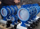 압축 공기를 넣은 액추에이터를 가진 PTFE에 의하여 일렬로 세워지는 웨이퍼 나비 벨브