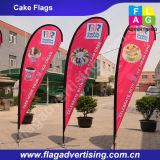 単一の側面および二重側面ポリエステル浜の飛行の涙の旗