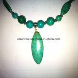 Jóia frisada de cristal da colar de turquesa natural da pedra Semi preciosa da forma