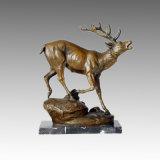 Dierlijke Beeldhouwwerk van het brons Deer Carving Deco Brass Statue Tpal-111