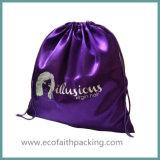 Kundenspezifischer purpurroter Satin-Beutel-Satin-Strand-Beutel mit der großen Kapazität