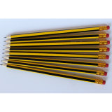 Revêtement en rayures jaune / noir, crayons en bois Hb avec boutons Eraser