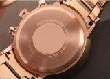 古典的な金時計のローズの金のブレスレットビジネス成金の贅沢な方法3目のクロノグラフの水晶メンズウォッチ