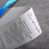 Etiqueta feita sob encomenda da impressão do cetim do poliéster da instrução de cuidado para a roupa