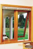 Roble sólido del estilo europeo estándar de la alta calidad/ventana de aluminio revestida de madera del toldo de la teca para el edificio residencial