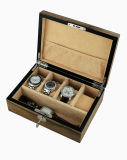 Boîte-cadeau en bois d'étalage de ramassage de montre de fini lustré de noix