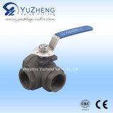 Válvula de esfera da maneira do tipo três do aço inoxidável Q15f T