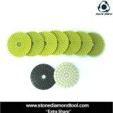 Tamponi a cuscinetti per lucidare bagnati della resina flessibile del diamante di spirale del granito da 4 pollici