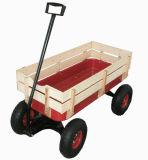Vagão de madeira vermelho para o bebê com dossel