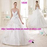 Casamento agradável do vestido dos vestidos de esfera do laço da curva com Neckline redondo