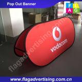 La doppia pubblicità del lato del fornitore esterna schiocca in su un basamento della bandiera della pagina