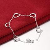 Buitenlandse Hete Verkoop Vijf Juwelen van de Armband van de Armband van de Tegenhanger van de Charme van het Hart de Zilver Geplateerde