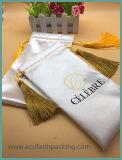 Kundenspezifischer Satin-Geschenk-Beutel-weicher Satin-Beutel mit goldenen Troddeln