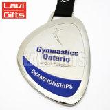 熱い販売の安い顧客デザインスタンプのリボンが付いている敏感なカスタム円形のめっきの銀のスポーツの記念品メダル