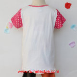 Girls를 위한 형식 Applique Embroidery Short Sleeve T-Shirt