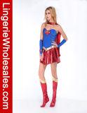 Сексуальный голубой и красный Costume Cosplay платья партии Supergirl Halloween